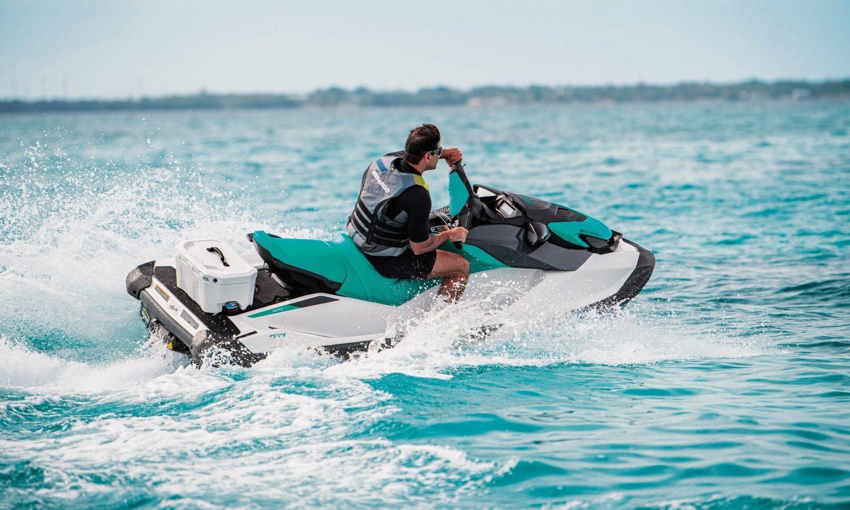 Man riding on a Sea-Doo GTI