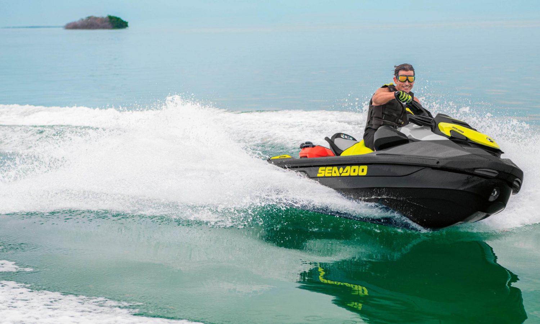 Man riding on a Sea-Doo GTR