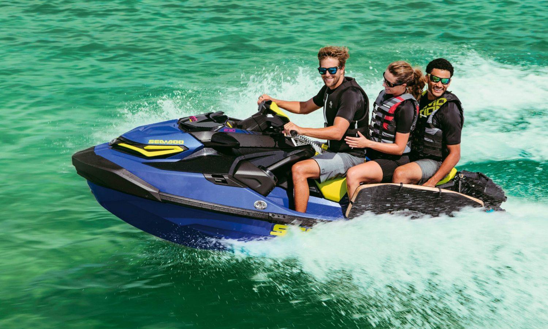 3-up riding on a Sea-Doo WAKE PRO